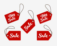 Red tag with the words sale. Shopping logo or icon. Red tag with the words sale. Shopping logo, icon Royalty Free Stock Images