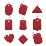 Red tags. 100% vectors - white tags, labels Stock Images