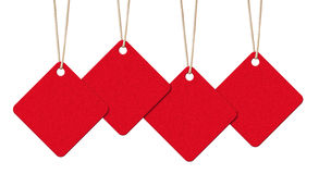 Red Tags with Copy Space on White Background Royalty Free Stock Images