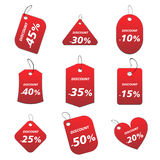 Red tags - discount. 100% vectors - colored labels, tags Vector Illustration