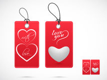 Red tags for Happy Valentines Day celebration. Stock Photography