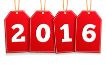 2016 on Red Tags Stock Photo