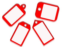 Red tags on shape variation Royalty Free Stock Images