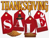 Red Tags with Traditional Elements of Thanksgiving for Sales Season, Vector Illustration Stock Photos
