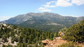 Red Tahquitz Summit. View of mountains, valley, sky and desert, California Stock Image