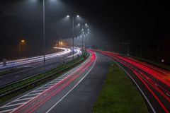 Red tail lights on the A2 highway Amsterdam. Red tail lights on the A2 highway at night out of Amsterdam the Netherlands stock image