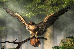 Red-Tailed Hawk. A red-tailed hawk spreads its wings as it perches on a branch in the forest. One of the most well known birds of prey. 3D rendering stock illustration