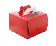Red Takeaway Cake Box. On White Background Stock Photo