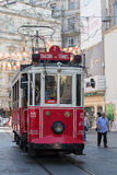Red Taksim Tunel Nostalgic Tram on the istiklal street. Istanbul, Turkey Royalty Free Stock Photography