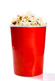 Red tall bowl with popcorn Royalty Free Stock Photos