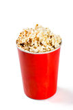 Red tall bowl with popcorn Stock Image
