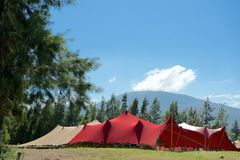 Red and tan marquee tents Royalty Free Stock Photos