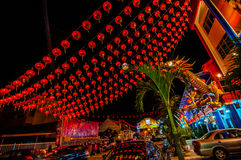 Red tang lung or lantern at night. When chinese new year coming th red lantern are everywhere stock images