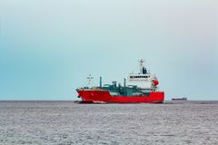 Red cargo tanker ship. Red tanker. Toxic substances and petroleum products transfer Royalty Free Stock Photos