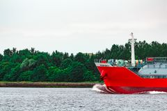 Red cargo tanker ship. Red tanker. Toxic substances and petroleum products transfer Royalty Free Stock Image