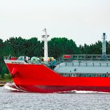 Red cargo tanker ship. Red tanker. Toxic substances and petroleum products transfer Royalty Free Stock Photo