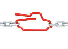 Red tanksymbol blocked with metal chains - military concept Stock Image