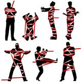 Red tape. Set of editable vector silhouettes of people wrapped in red tape Stock Images
