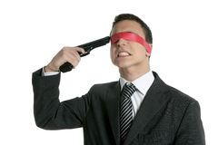 Red tape blindfold businessman gun suicide Stock Image