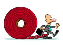 Red tape business cartoon Royalty Free Stock Photos