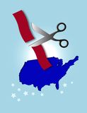 Red Tape Cutting. Computer Illustration. Map of the USA with scissors cutting red tape. Government bureaucracy, immigration issues, etc. Could also be used for Royalty Free Stock Images