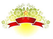 Red tape and flowers. Red tape with green decorative flowers on a yellow-white background Royalty Free Stock Photos