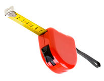 Red tape measure isolated on white Stock Photo