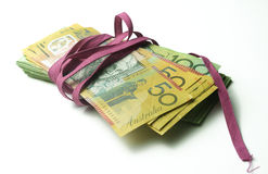 Red Tape Money bundle Stock Photo