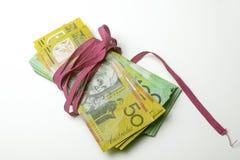Red Tape Money bundle landscape Royalty Free Stock Images