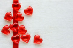 Red tape, transparent glass heart Stock Image
