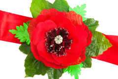 Red Tape With A Poppy Royalty Free Stock Photos