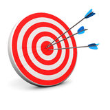 Red Target. With 3 arrows in the bullseye Royalty Free Stock Photo