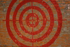 Target on the red brick wall. Graffiti. Stock Image