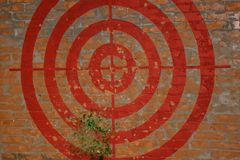Target on the red brick wall. Graffiti. They hit the target with a broom. Fragments are flying Royalty Free Stock Photos