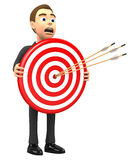 Red target. Businessman holding a target with arrows Royalty Free Stock Images