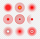Red target circle medical vector ripple. Sore hurt spot place. Wave therapy symbol pain ache red target.  vector illustration