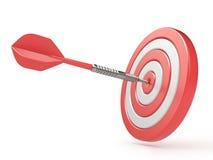 Red target and dart hitting center. 3D vector illustration