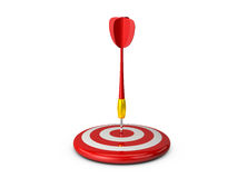 Red Target with Plastic Dart Arrow. Red plastic dart arrow and target with white sprites and reflection, isolated on white background Royalty Free Stock Photography
