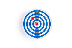 Red target with red arrow and words on goal on white background, business concept Royalty Free Stock Image