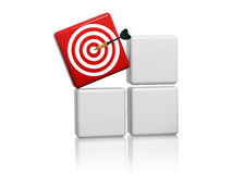 Red target sign with arrow on boxes. 3d red target sign with arrow on grey boxes Royalty Free Stock Photo