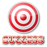Red target with success word vector illustration