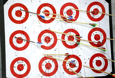 Red targets with colorful arrows Royalty Free Stock Photography