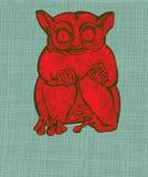 Red tarsier. On green grid paper royalty free illustration