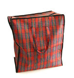 Red tartan bag. On white background Stock Photography