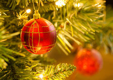 Red Tartan Bauble on Christmas Tree. Closeup image of red tartan bauble on Christmas tree with blurred background Stock Photography