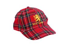 Red tartan cap with scottish arms Stock Images
