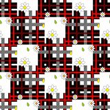 Red tartan plaid and daisy flowers pattern on checkered background for textile stock illustration