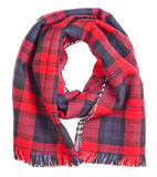 Red tartan scarf. Wool red tartan plaid scarf isolated on white background Royalty Free Stock Photography