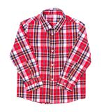 Red tartan shirt folded on white background.  Royalty Free Stock Images