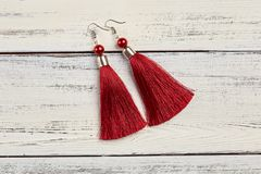 Red tassel earrings on white background. Copy space stock photo